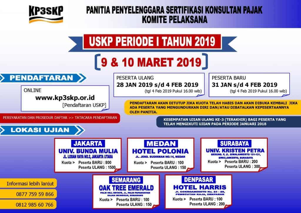 Jadwal Ujian Sertifikasi Konsultan Pajak (USKP) Periode ke-1 Bulan Maret 2019