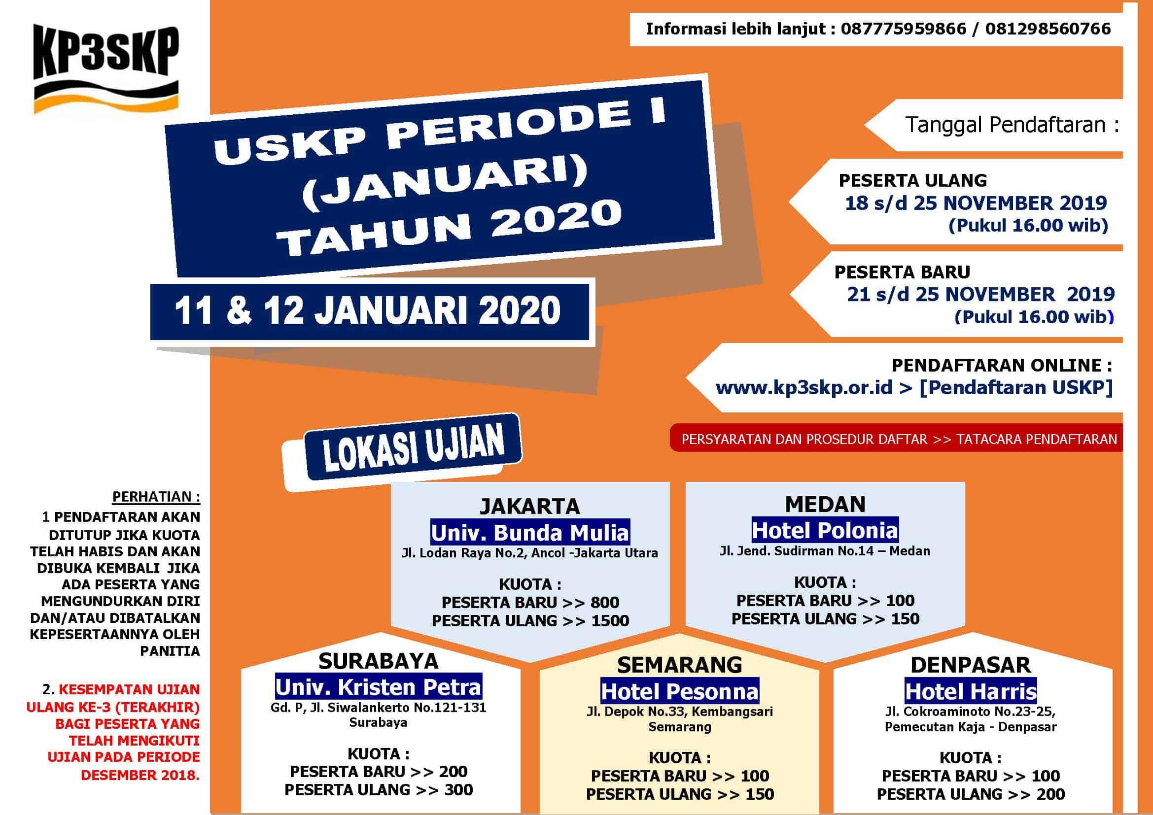Jadwal Ujian USKP Januari 2020